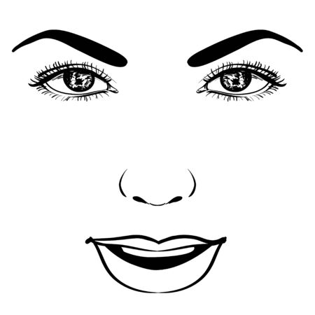 Beautiful fashion woman portrait for make up on background. Vector illustration eps 10