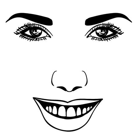 brow: Beautiful fashion woman portrait for make up on background. Vector illustration eps 10