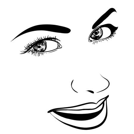 Beautiful fashion woman portrait for make up on background. Vector illustration eps 10.