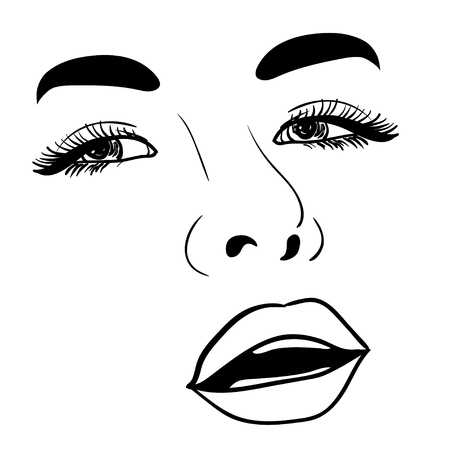 brow: Beautiful fashion woman portrait for make up on background. Vector illustration eps 10.