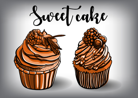 Vintage cakes with cream poster design vector. Illustration