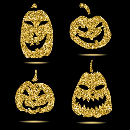 Halloween sparkley pumpkin with scary face on background Illustration