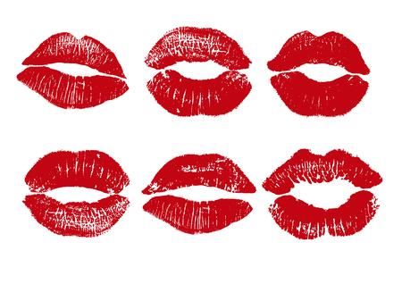 Afdrukken van rode lippen. Vector illustratie op een witte achtergrond. EPS