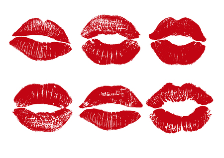 Print of red lips. Vector illustration on a white background. EPS Stock fotó - 77216115