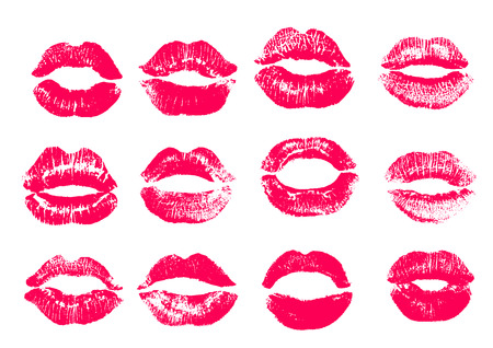 Print of pink lips. Vector illustration on a white background. EPS Illustration