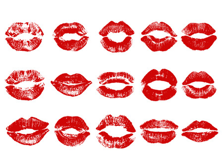 Print of red lips. Vector illustration on a white background. EPS