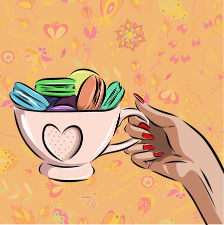 cup with different macaroons on background. Illustration