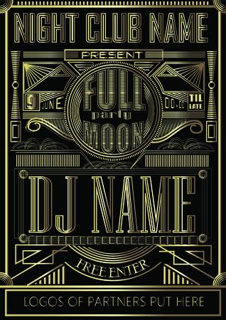 Fullmoon party art deco design flyer
