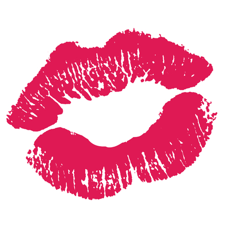 ピンクの唇のプリントです。白い背景の上の図。