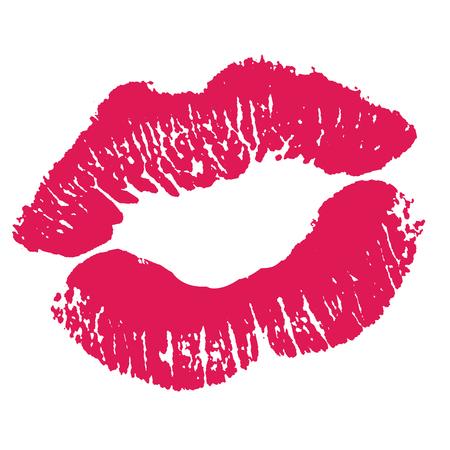 Print of pink lips. Illustration on white background. Zdjęcie Seryjne - 79653712