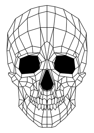 abstract polygonal linear skull on a background.