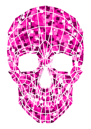 abstract polygonal shine skull on a background.