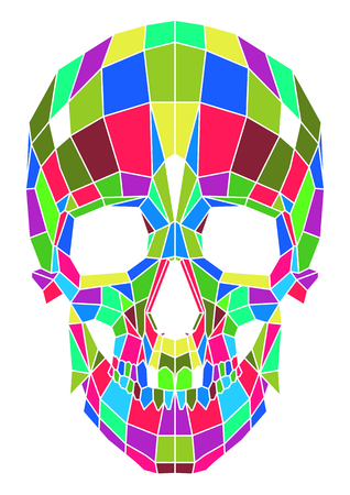 abstract polygonal multicolor skull on a background. Vector Illustration