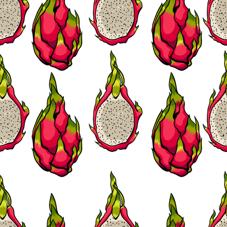 Exotic seamless vector pattern. Dragon fruits on the bright white background.