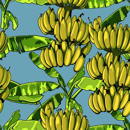 Naadloos tropisch patroon met bananenbladeren. Vector illustratie.