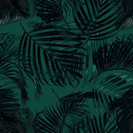 Palm leaves silhouette on the green background. Vector seamless pattern with tropical plants. Illusztráció