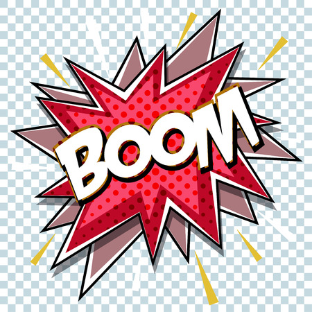Cartoon comic graphic design for explosion blast dialog box background with sound BOOM. Vector Illustration