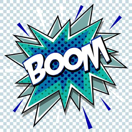 Cartoon comic graphic design for explosion blast dialog box background with sound BOOM. Vettoriali