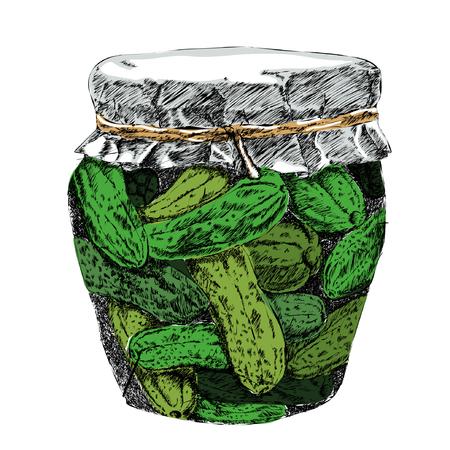 Gepekelde Komkommers In Pekel En Kruik Vector. Stock Illustratie
