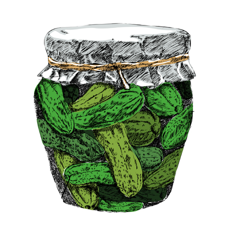 Pickled cucumbers in brine and jar vector. Ilustração