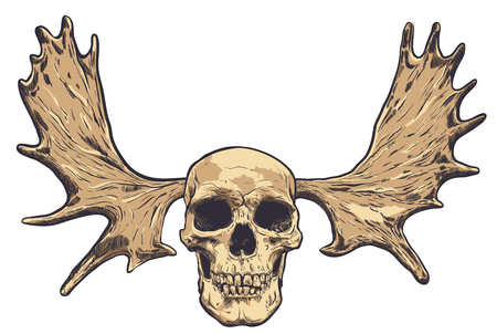 Hand drawn skull with deer horns on background. Vector  イラスト・ベクター素材