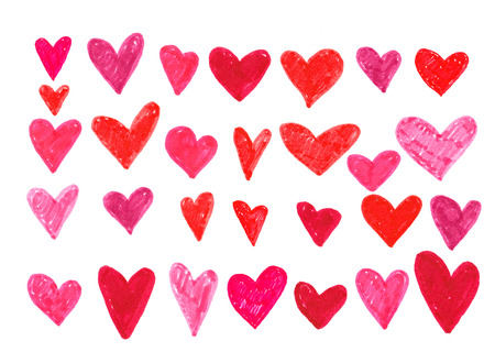 Hand drawn hearts collection. Design elements for Valentines day. Stock Photo