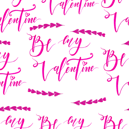 Hand drawn seamless pattern with hearts and lettering. Made with marker Stock Photo