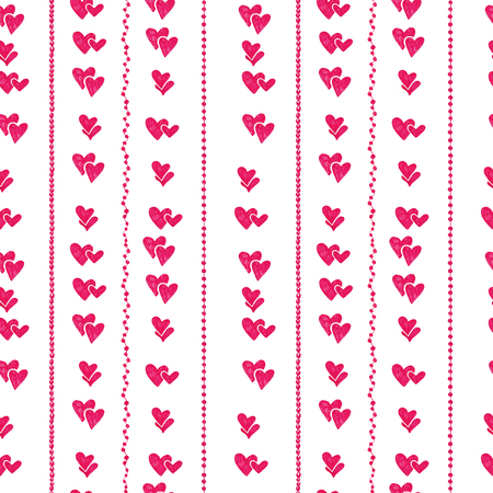 Hand drawn seamless pattern with hearts and round beads. Msde with marker