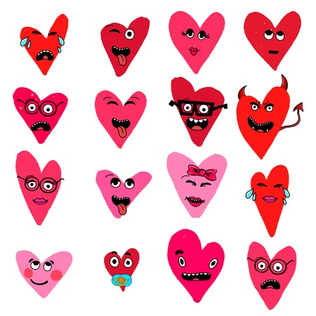 Set of emoticon with hearts isolated on white background. Emoji vector. Smile icon collection.