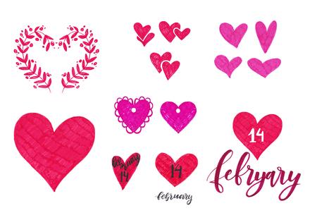 Marker set of Valentine day elements for design. Ornamental frame, lettering, hearts.