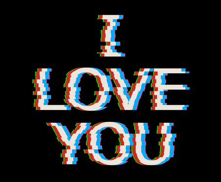 White i love you text in Glitch Style. Vector Heart Illustration with, Modern and Trendy Silhouette. Illustration