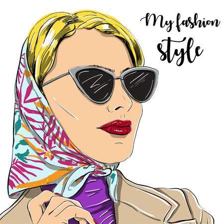 beautiful fashion woman in sunglasses vector illustration