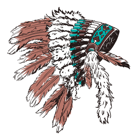 Dotwork style hat with indian feather. Grunge vector art