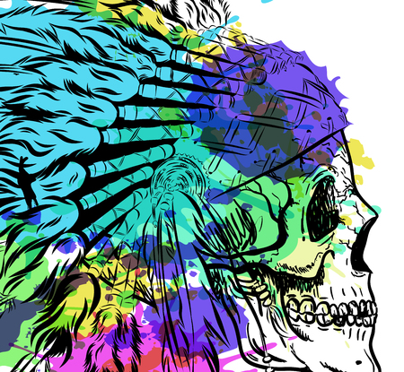 Dotwork style skull with indian feather hat. Grunge vector art