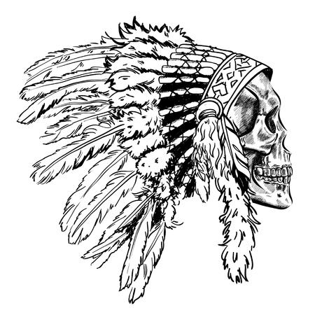 Crâne de style Dotwork avec chapeau de plumes indien. Art vectoriel grunge
