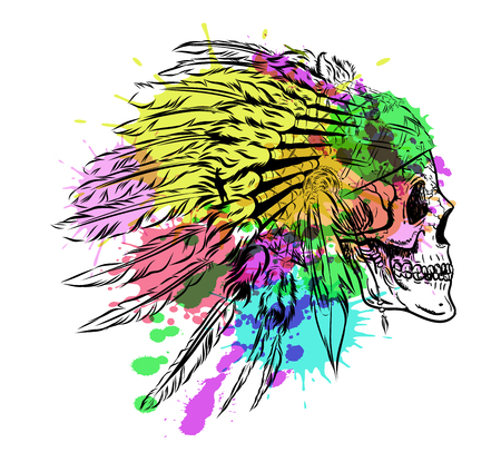 Dotwork style skull with indian feather hat. Grunge vector art. Illustration