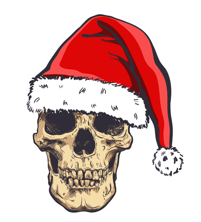 Graphical skull in New Years hat,vector illustration. Stock Illustratie