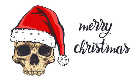 Graphical skull in New Years hat,vector illustration. Иллюстрация