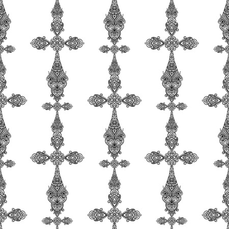Vintage religious crosses in black and white seamless pattern, heraldic design