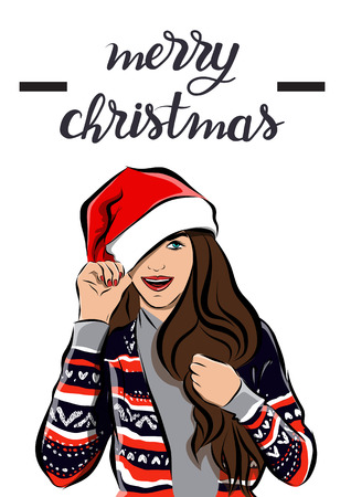 Merry Christmas and happy new year girl image Vectores