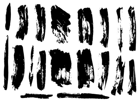 Black ink grunge brush set strokes on white background 스톡 콘텐츠 - 125983961