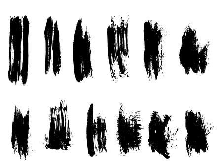 Black ink grunge brush set strokes on white background 스톡 콘텐츠 - 125983964
