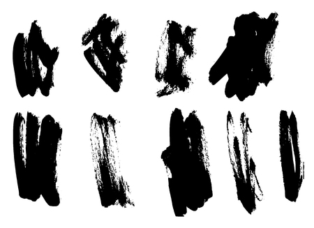 Black ink grunge brush set strokes on white background 스톡 콘텐츠 - 125983965