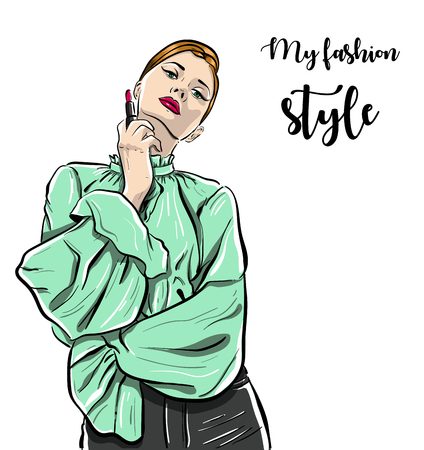 Beautiful young woman in trousers with stylish hairdress. Lovely woman portrait. Sketch. Vector illustration isolated on white Çizim