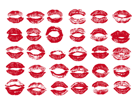 Women lips set. Hand drawn watercolor lips isolated on white background. Fashion and beauty illustration. Vektorové ilustrace
