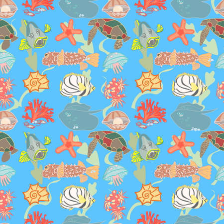 atoll: Coral, turtle, fishes and other inhabitants of the underwater world on a seamless pattern.