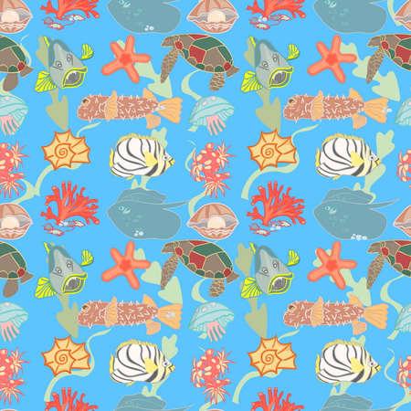 inhabitants: Corallo, Tartaruga, pesci e altri abitanti del mondo sottomarino su un modello senza soluzione di continuit�.