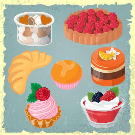gelatina: Conjunto de pasteles, gelatinas, postres en el fondo de la vendimia