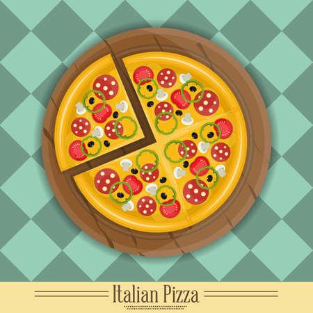 pizza box: Pizza italiana y los ingredientes para pizza en la placa para pizza. Vectores