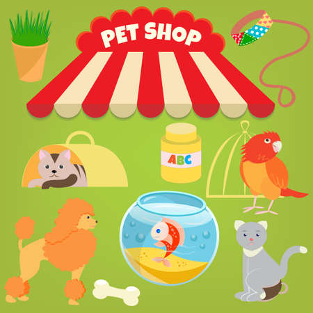 Cat, Poodle, Parrot, Gold Fish and Accessories of Pet Shop Vector